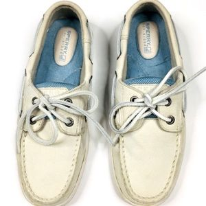 Sperry Top Sider 2 Eye Off White Leather Boat Shoe